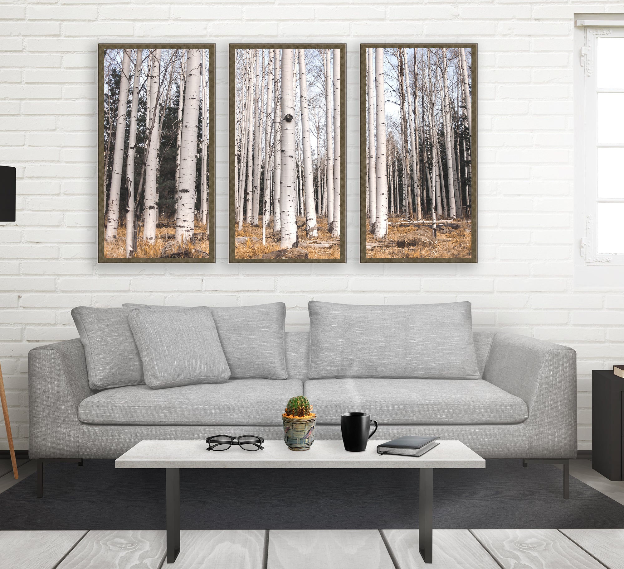 Birch Forest Tryptic, Large Canvas Wall Art or 3 Prints