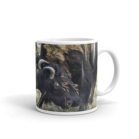 Bison Battle Coffee Mug - Ceramic Lost in Nature