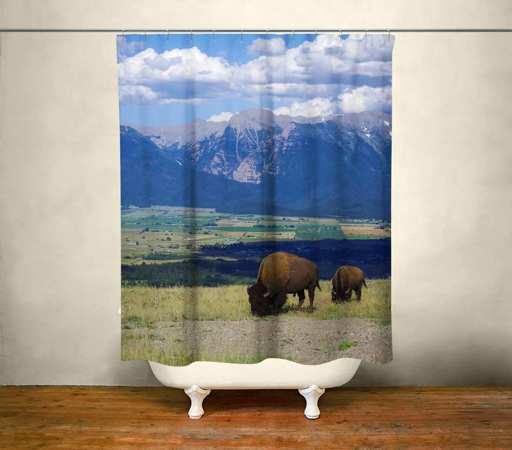 Bison Shower Curtain Lost in Nature