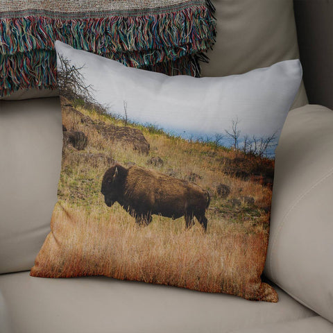 Bison Throw Pillow Lost in Nature