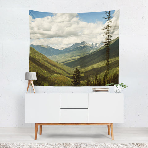 British Columbia Overlook, Mountains Wall Tapestry - 4 Sizes