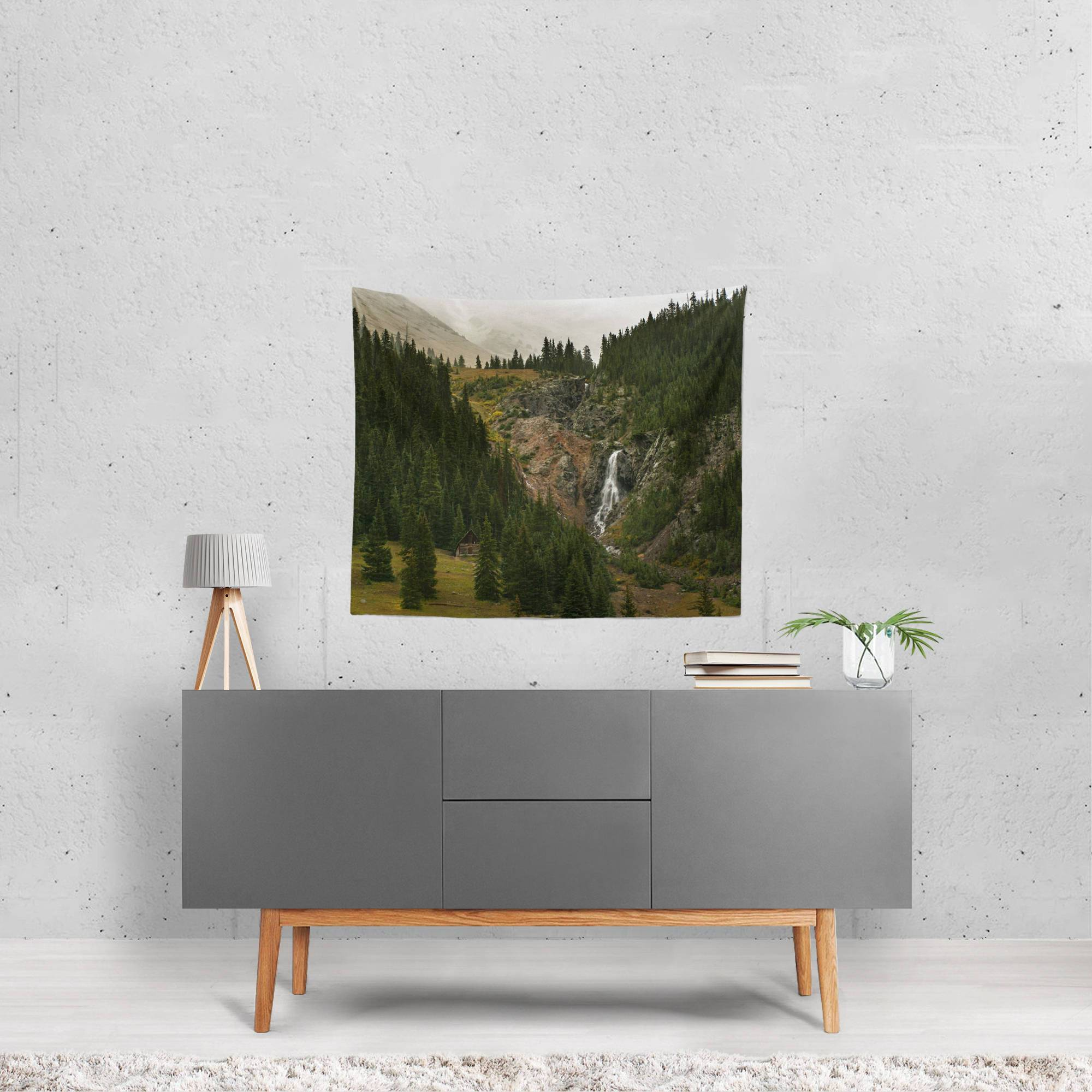 Cabin and Waterfall, Mountain Wall Tapestry Lost In Nature