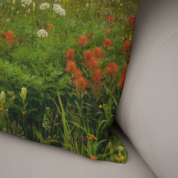 Cabin in Alpine Flowers Decorative Throw Pillow Lost In Nature