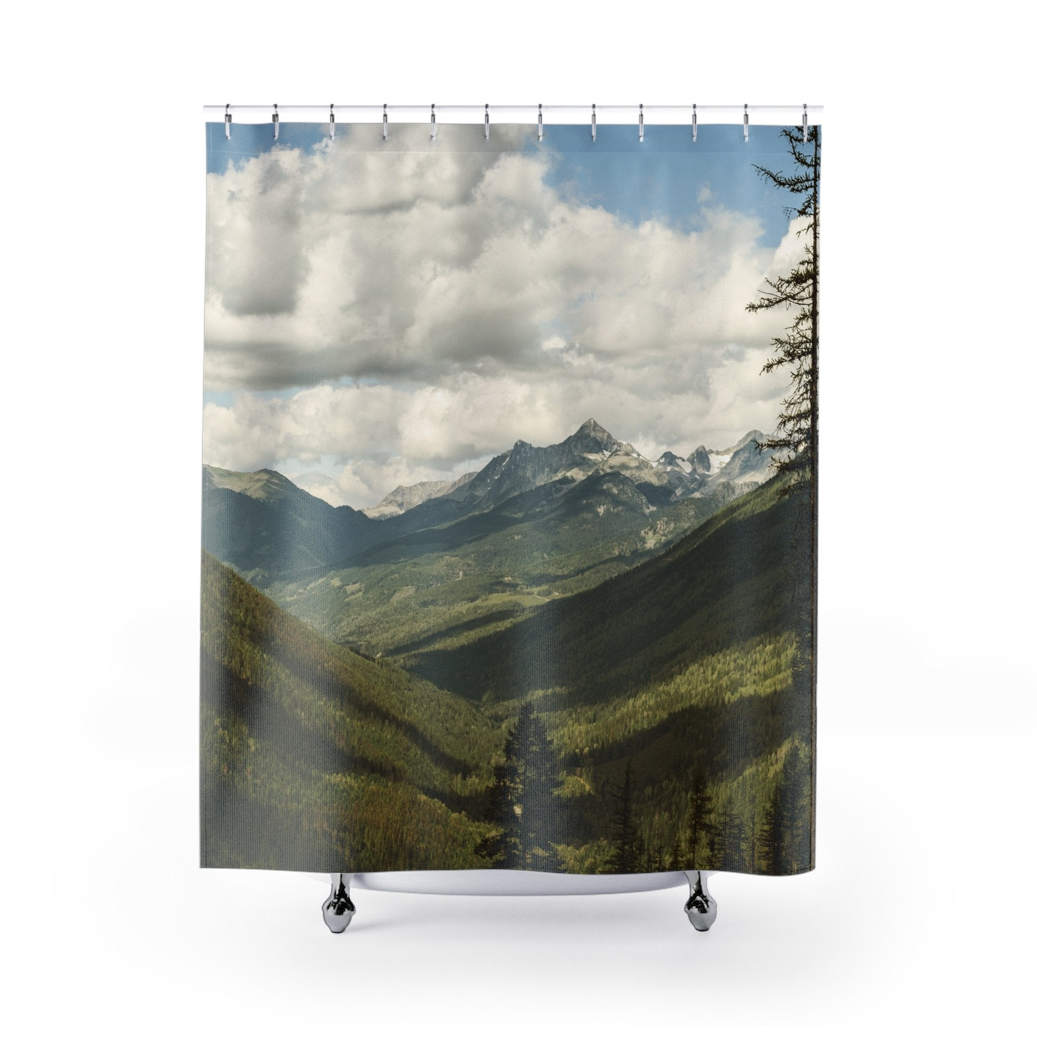 Canada Mountains Shower Curtains Printify