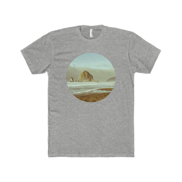 Cannon Beach, Haystack Rock Men's Fitted Short-Sleeve T-Shirt 90/10 Heather Gray / XS Printify
