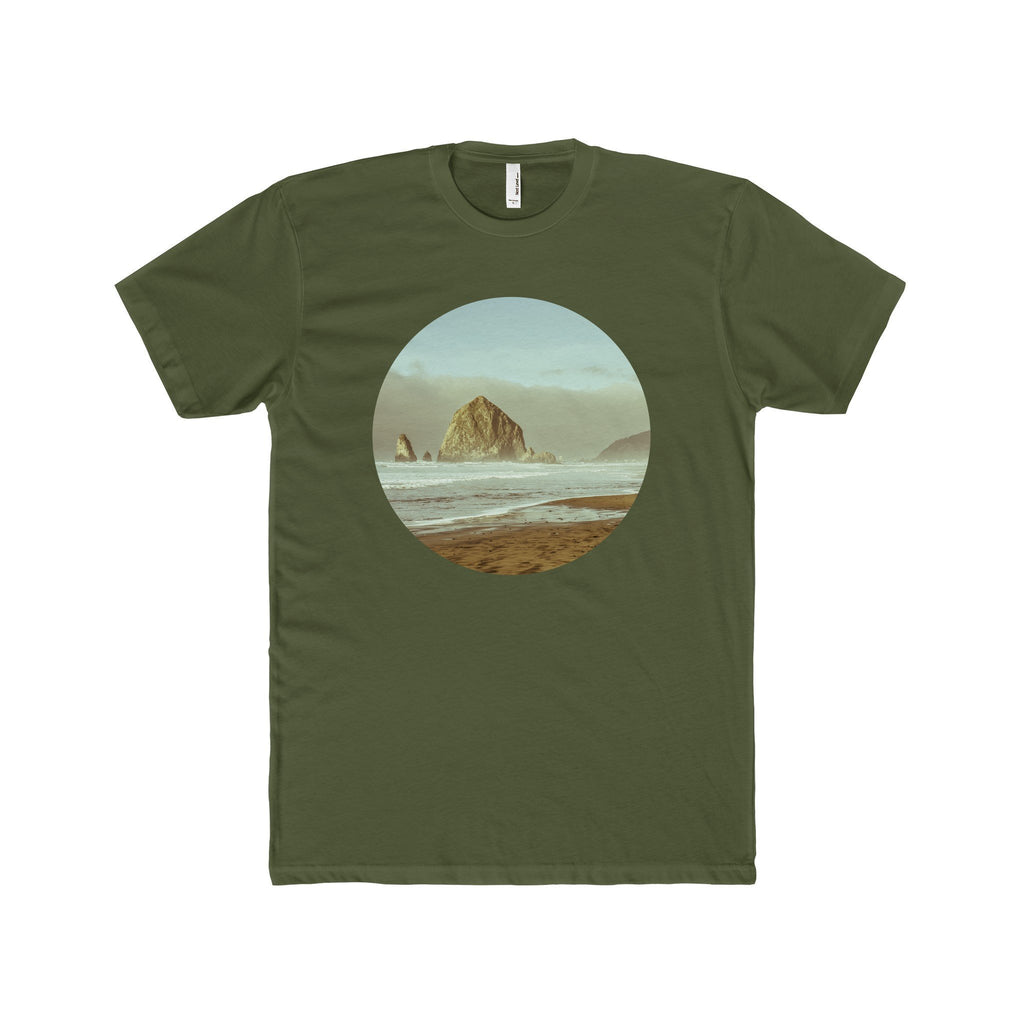 Cannon Beach, Haystack Rock Men's Fitted Short-Sleeve T-Shirt Solid Military Green / XS Printify