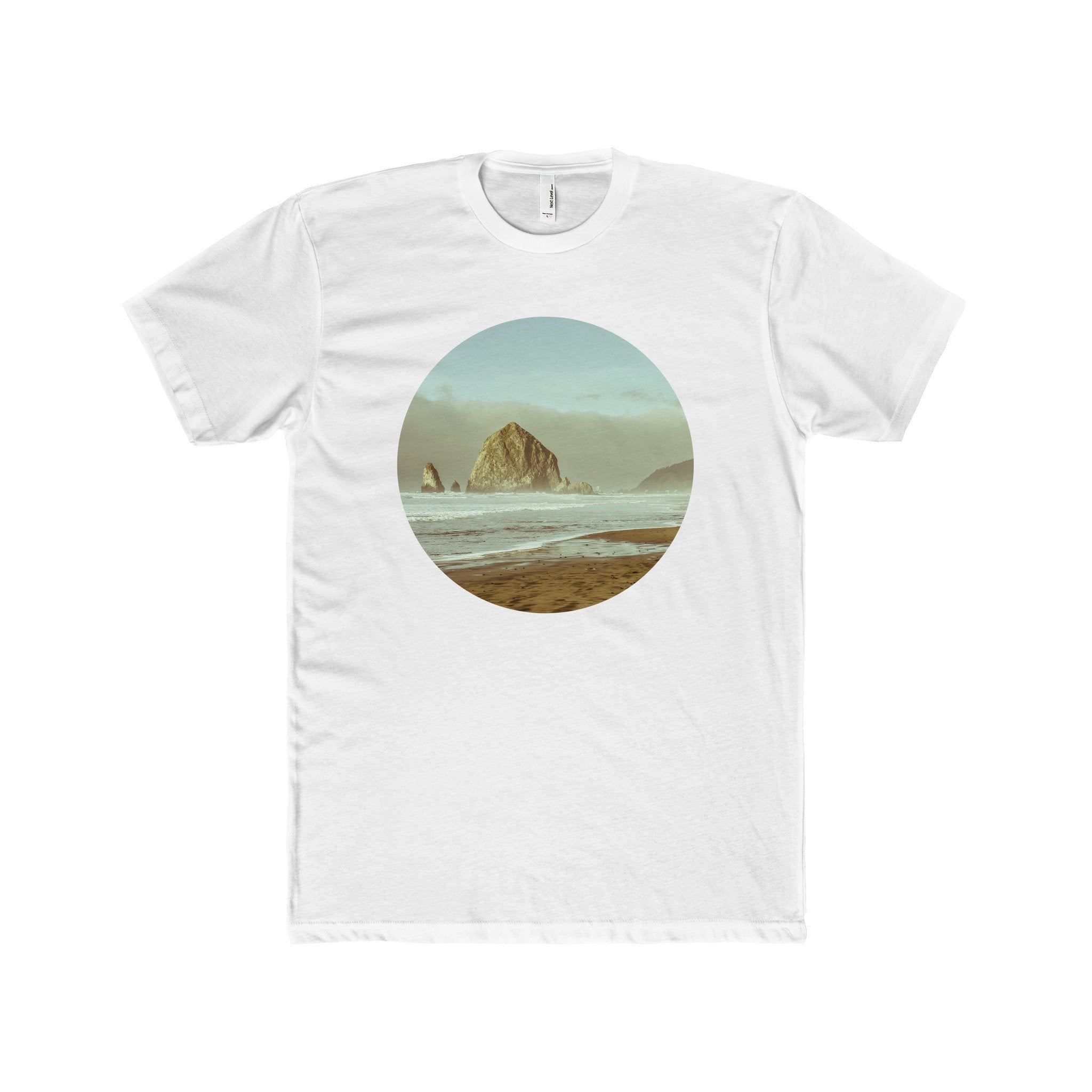 Cannon Beach, Haystack Rock Men's Fitted Short-Sleeve T-Shirt Solid White / XS Printify