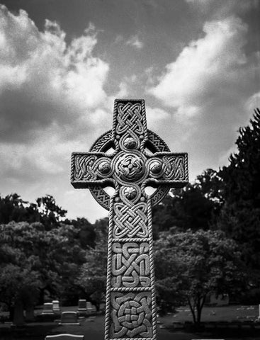 Celtic Cross Headstone, Black and White Photography Lost Kat Photography