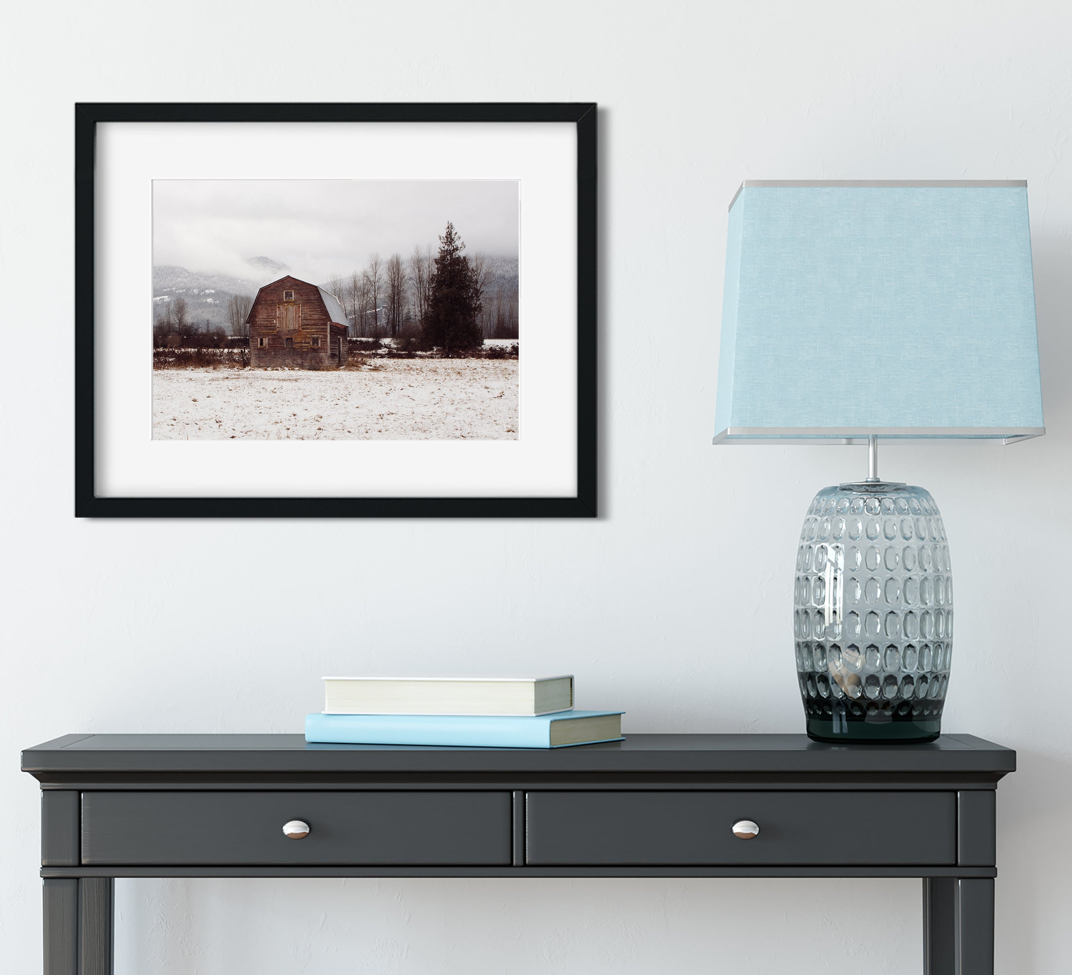 Winter Barn, Clark Fork Idaho Rustic Art Print
