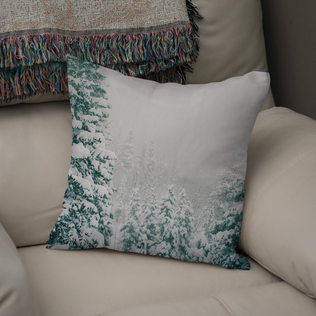 "Colorado Snow Storm 18"" Throw Pillow Lost In Nature"