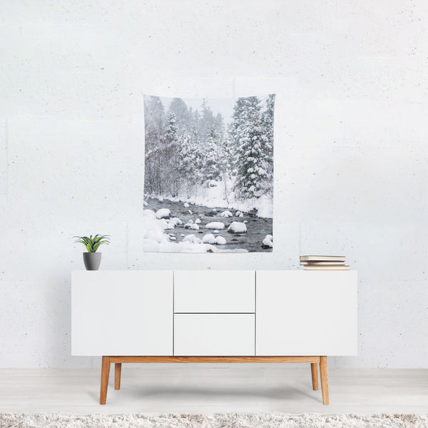 Colorado Snowy River, Christmas Wall Tapestry Lost In Nature