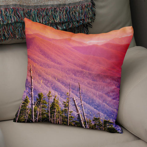 Colorful Smoky Mountains Throw Pillow Lost in Nature