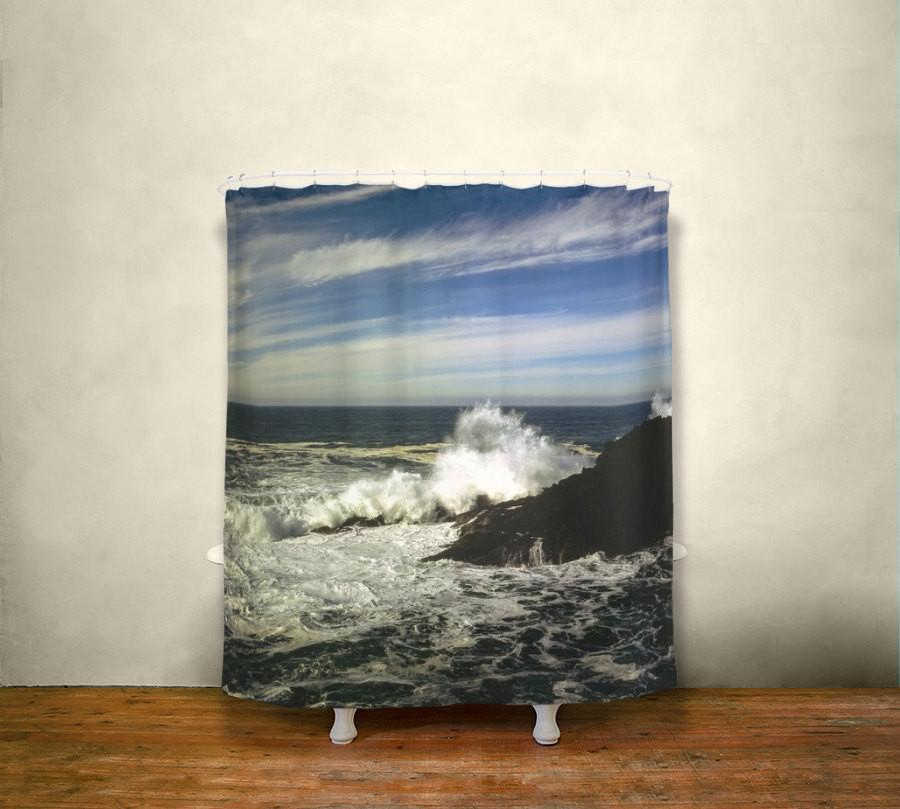 Crashing Waves, Shower Curtain Lost In Nature