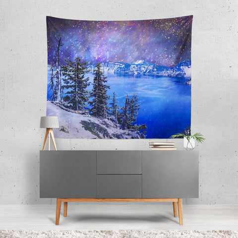Crater Lake Surreal Blue Wall Tapestry Lost in Nature