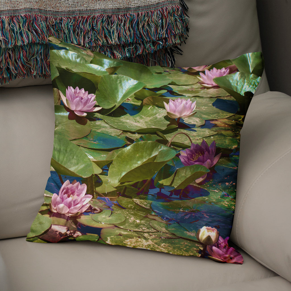 Lily Pads Floral Throw Pillow Cover- 5 Sizes