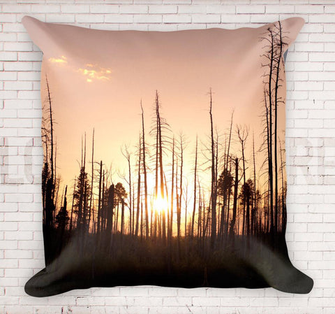 "Dead Forest Sunset 18"" Throw Pillow Lost In Nature"