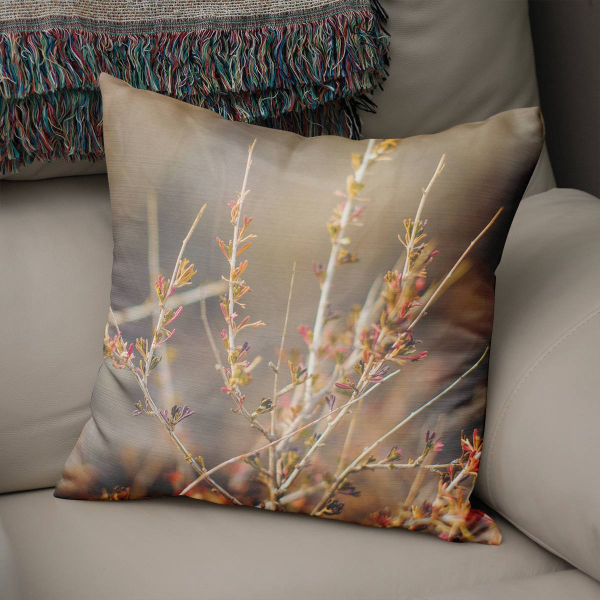 Delicate Flowers Pink and Purple Throw Pillow Cover Lost in Nature