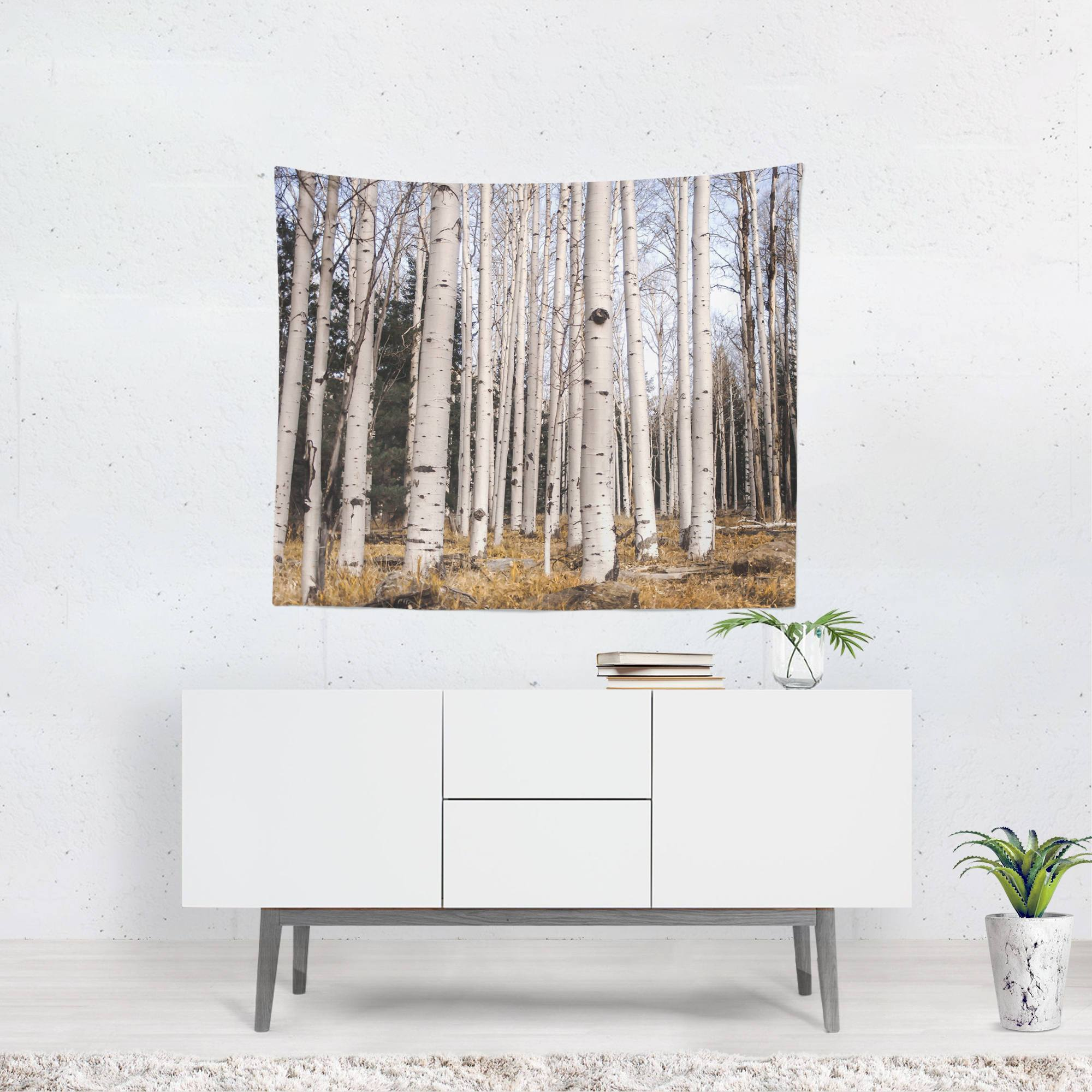Trees of Reason II, Birch Forest Wall Tapestry