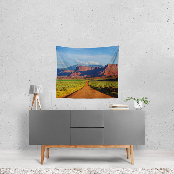 Desert Meets Mountains, Scenic Wall Tapestry Lost In Nature