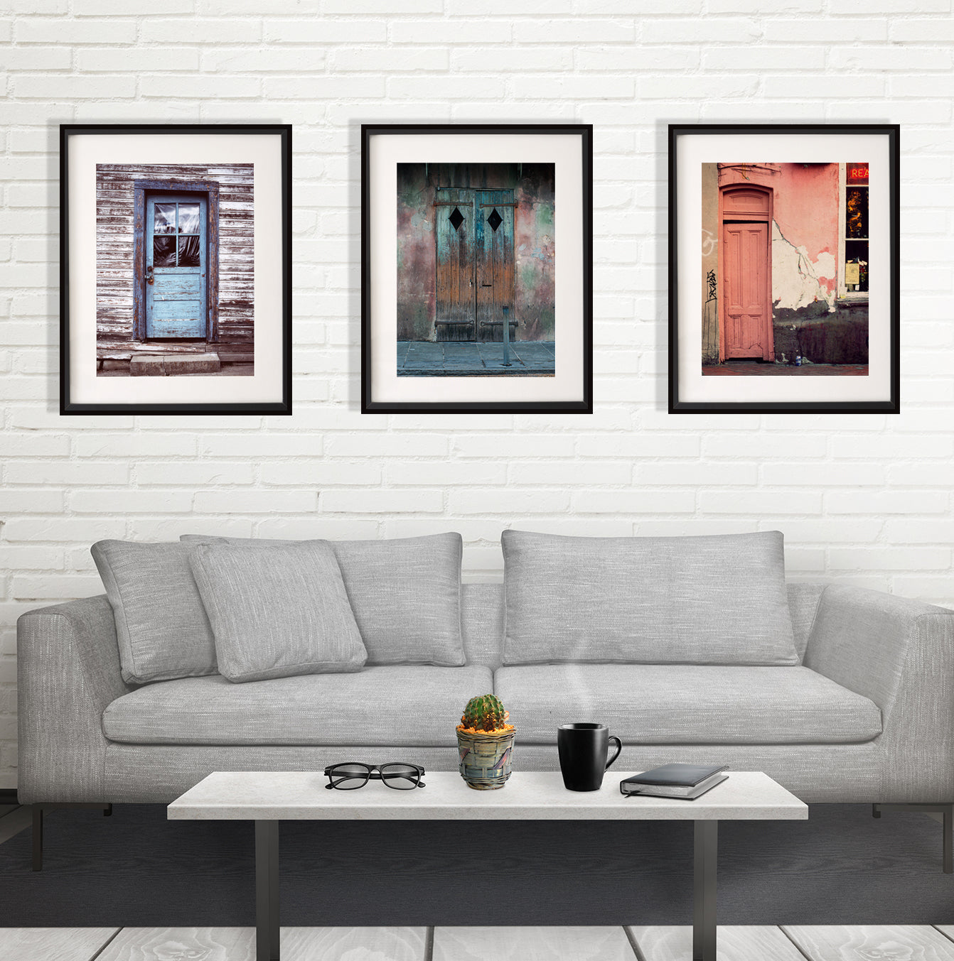 Collection of 3 Prints, Old Doors, Rustic Wall Art Set