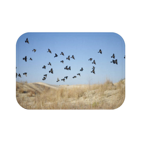 Dreamy Blackbirds in Flight Memory Foam Bath Mat Lost in Nature