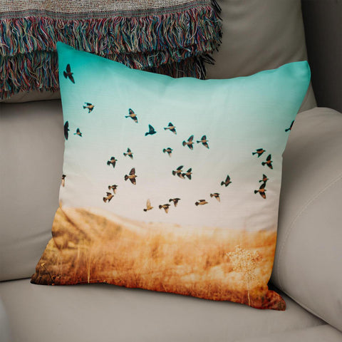 Dreamy Blackbirds in Flight Throw Pillow Cover Lost in Nature