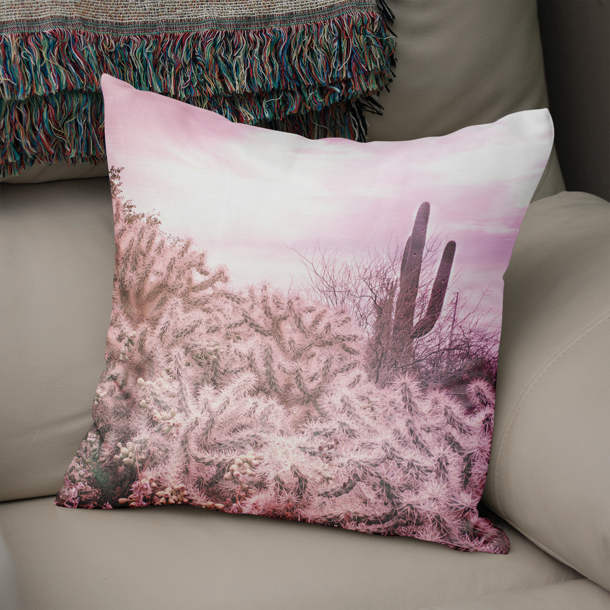 Dreamy Cholla and Sorrel Cactus Throw Pillow - 5 Sizes