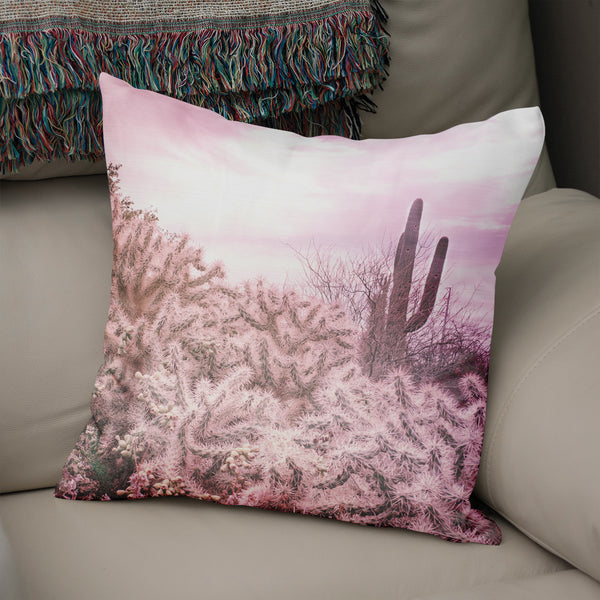 Dreamy Cholla and Sorrel Cactus Throw Pillow Cover- 5 Sizes