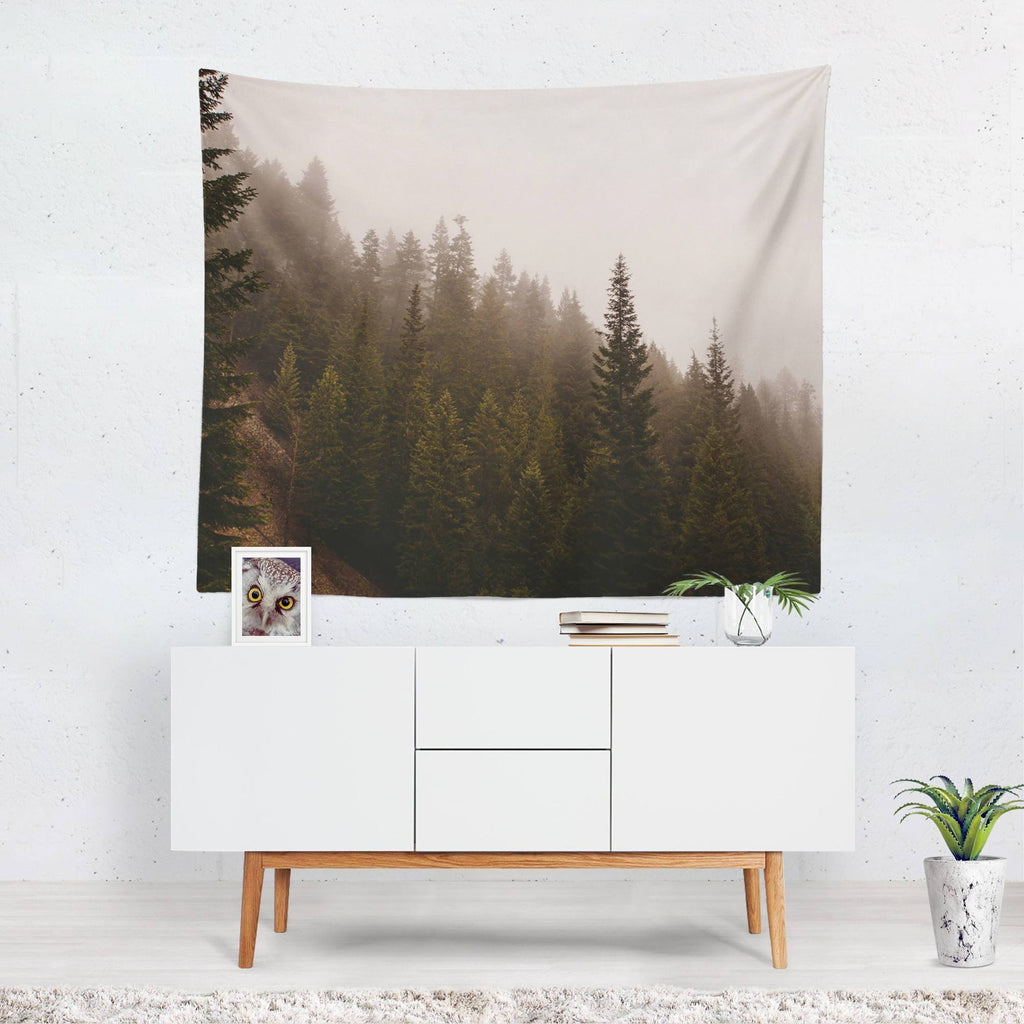 Elevation Drop, Foggy Forest Wall Tapestry