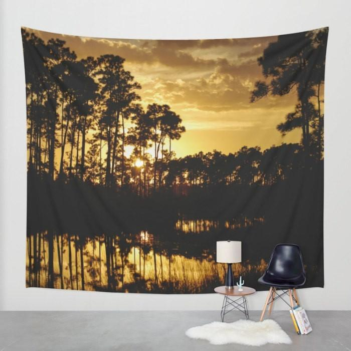 Everglades Forest, Florida Sunset Tapestry Lost In Nature