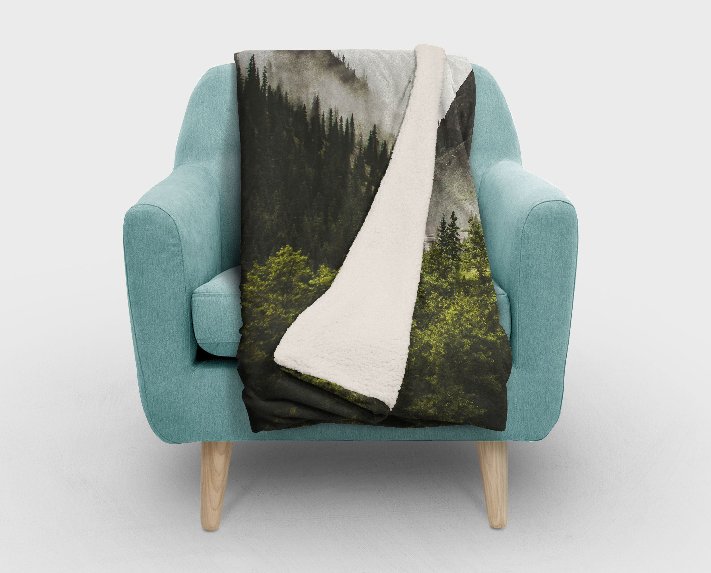 Mountain Range Sherpa Fleece Blanket - 2 Sizes