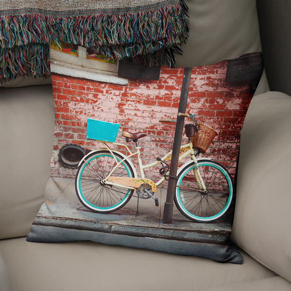 Brick and Bicycle, New Orleans Decorative Throw Pillow Cover- 5 Sizes