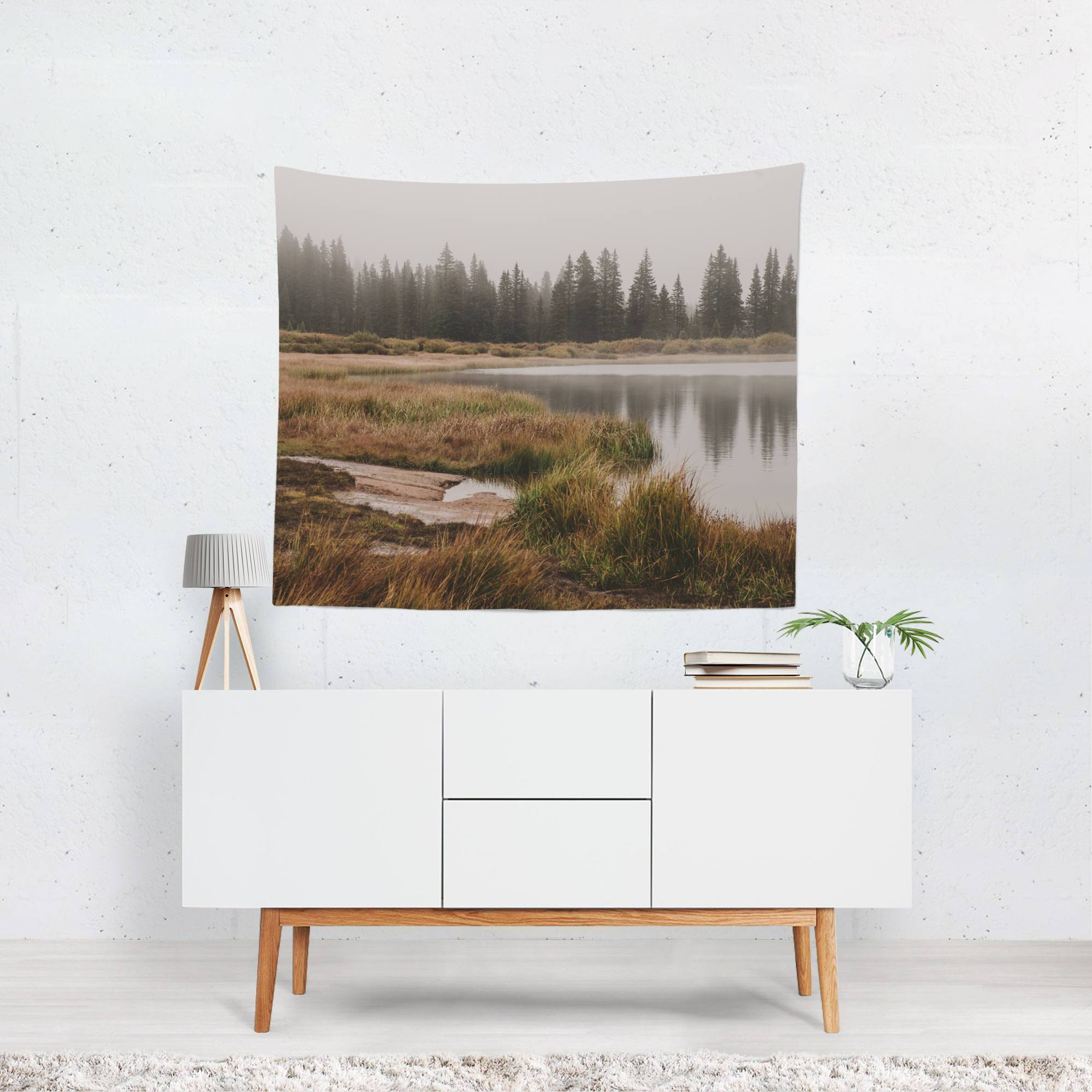 Foggy Colorado Lake Wall Tapestry Lost In Nature