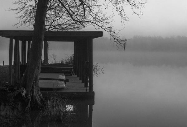 Foggy Dock, Black and White Photography - Fine Art Print Lost Kat Photography