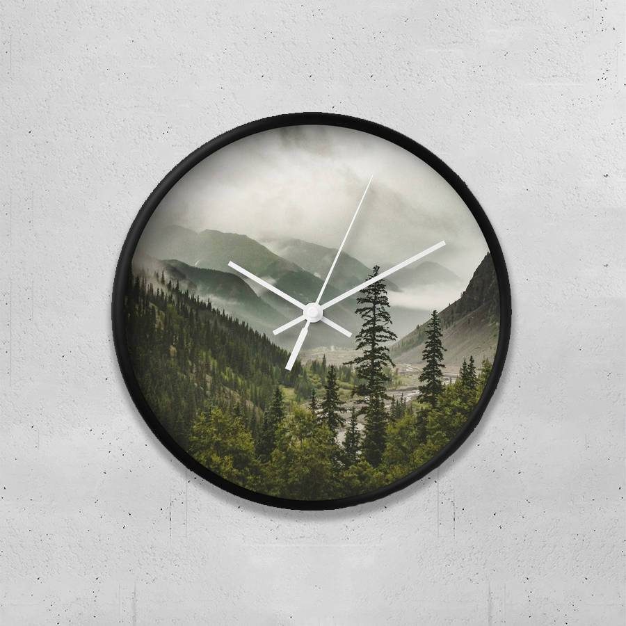 "Foggy Forest 10"" Wall Clock Lost in Nature"