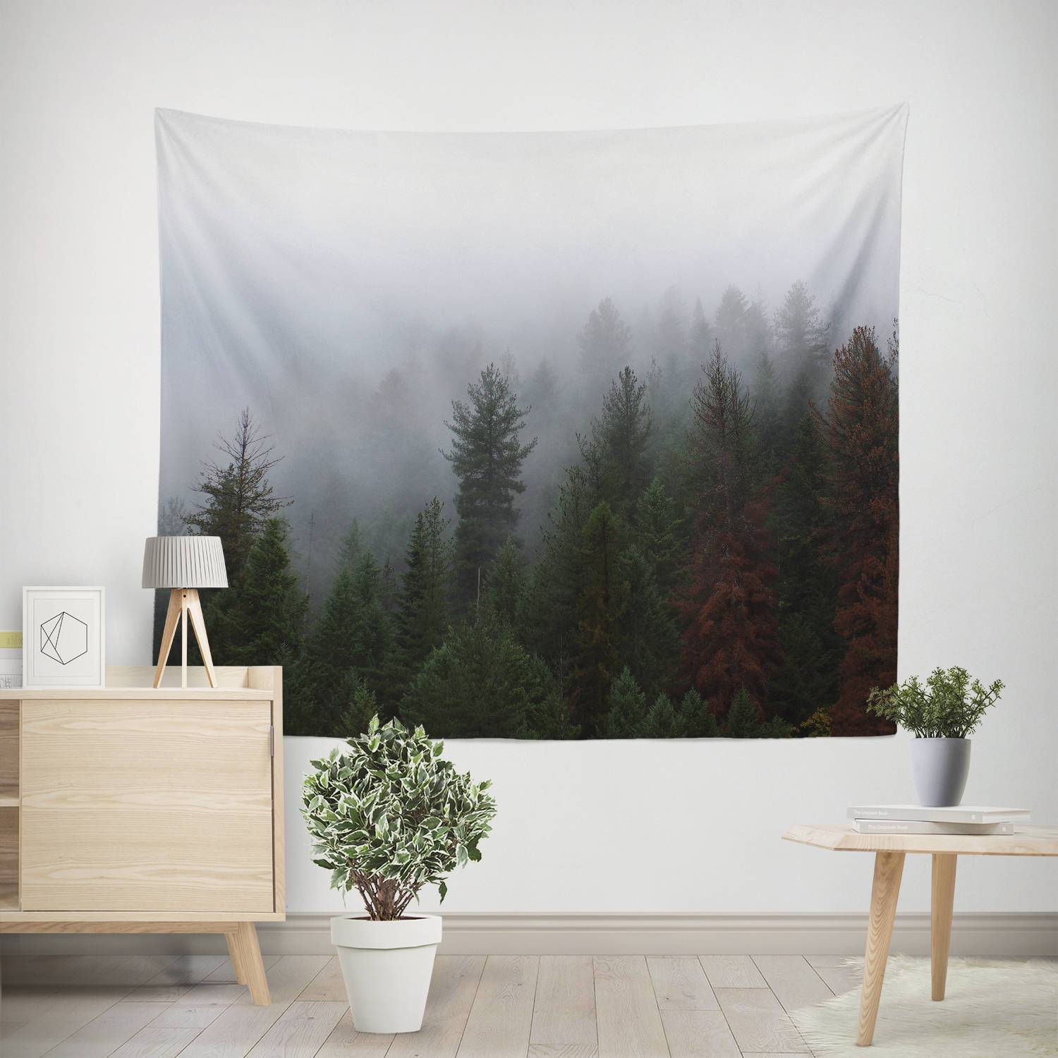 Foggy Forest Nature Wall Tapestry Lost in Nature