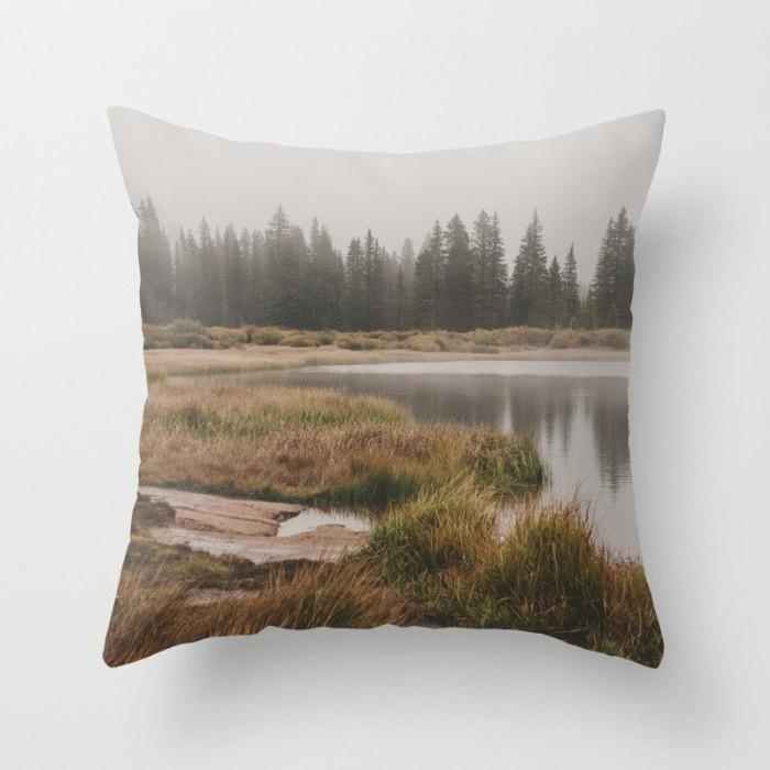 Foggy Lake Colorado Throw Pillow Lost In Nature