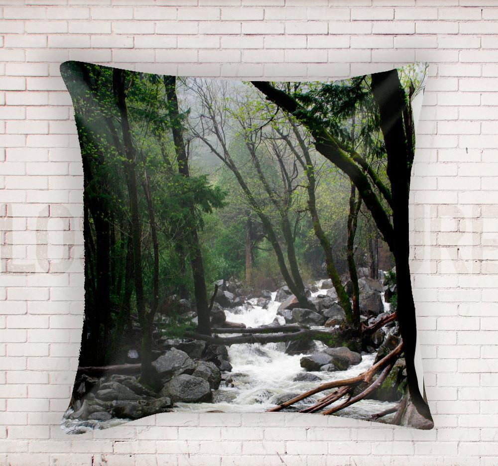 Foggy Mountain Stream, Yosemite Throw Pillow Lost In Nature