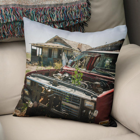 Ghost Town Truck Throw Pillow Cover Lost in Nature