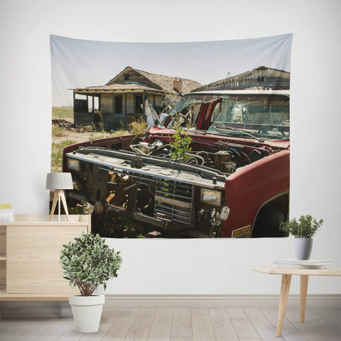 Ghost Town Truck Wall Tapestry Lost in Nature