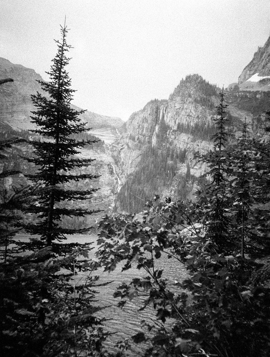 Scenic Mountain Lake Beauty, Black and White Photo Print