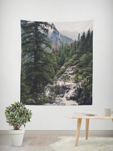 Great Foggy Wilderness Wall Tapestry Lost in Nature