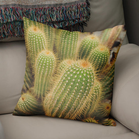 Green Cactus Throw Pillow Cover Lost in Nature