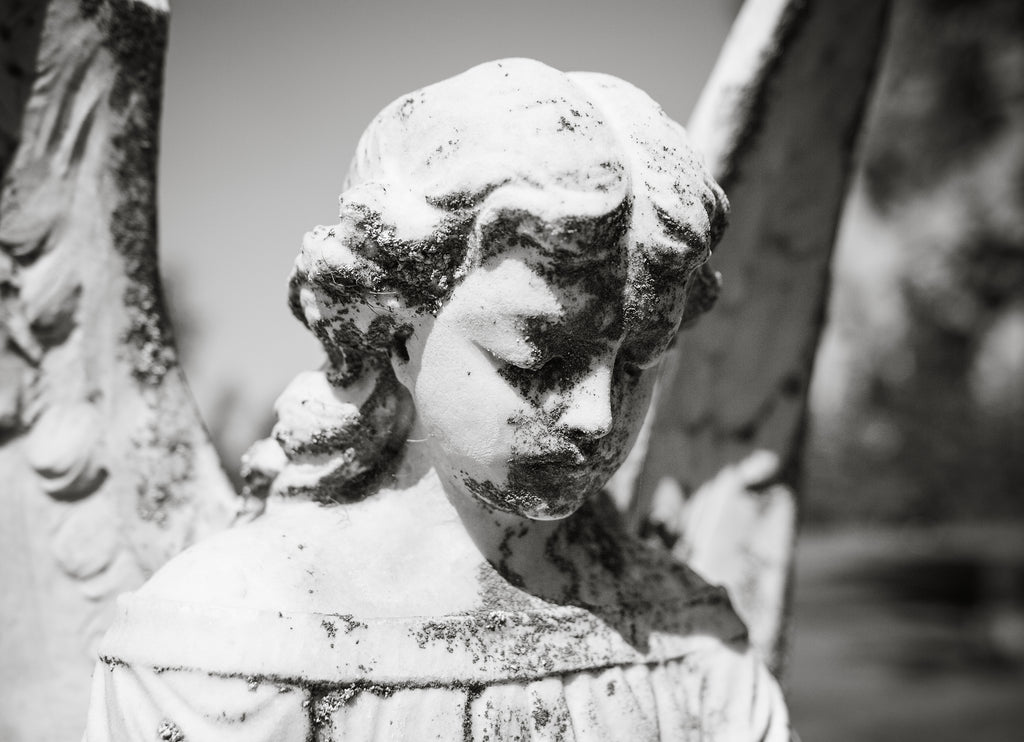 Angel Face Statue Headstone