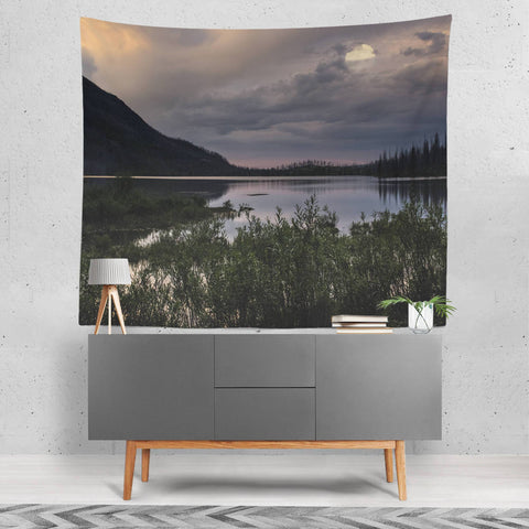 Lake at Night Scenic Wall Tapestry Lost in Nature