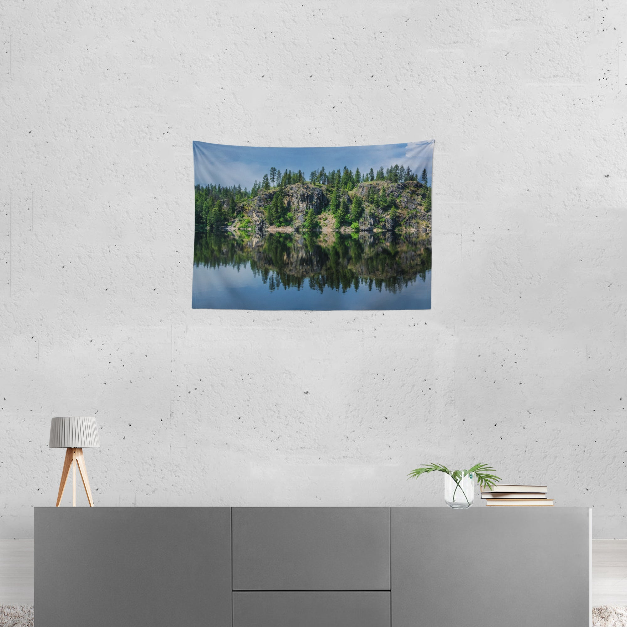 Relaxing Lake Reflections Microfiber Wall Tapestry