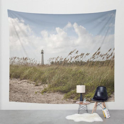 Lighthouse Beach Wall Tapestry Lost In Nature