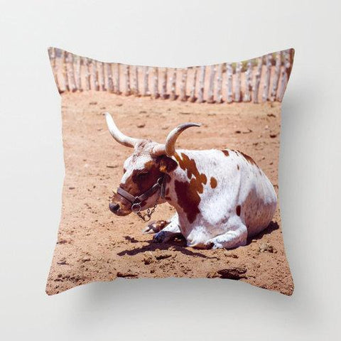 Longhorn Steer Throw Pillow Cover Lost in Nature