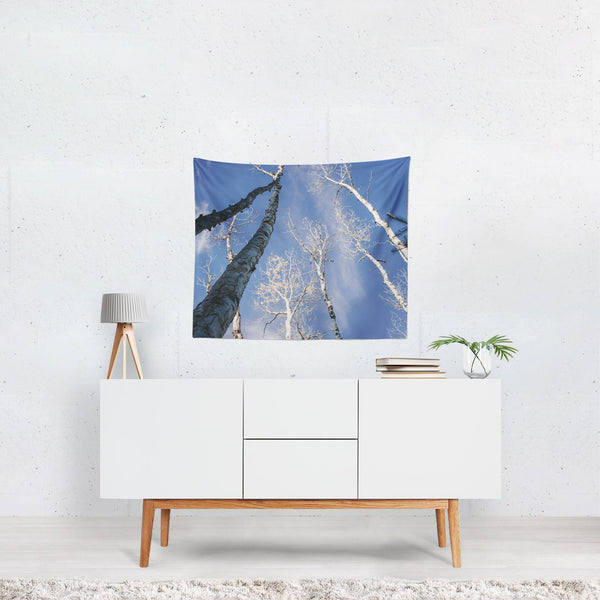 Looking Up at the Birch Forest, Nature Wall Tapestry Lost In Nature