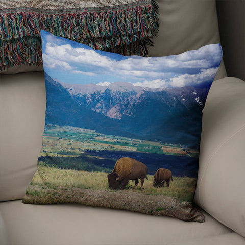 Majestic Bison Throw Pillow Lost in Nature